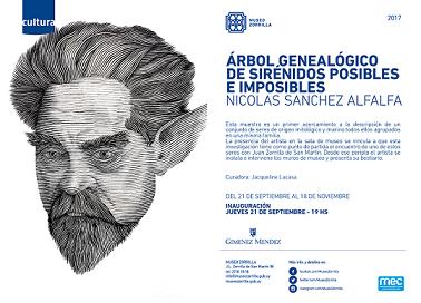 Invitación inauguración con ilustración de Juan Zorrilla de San Martín