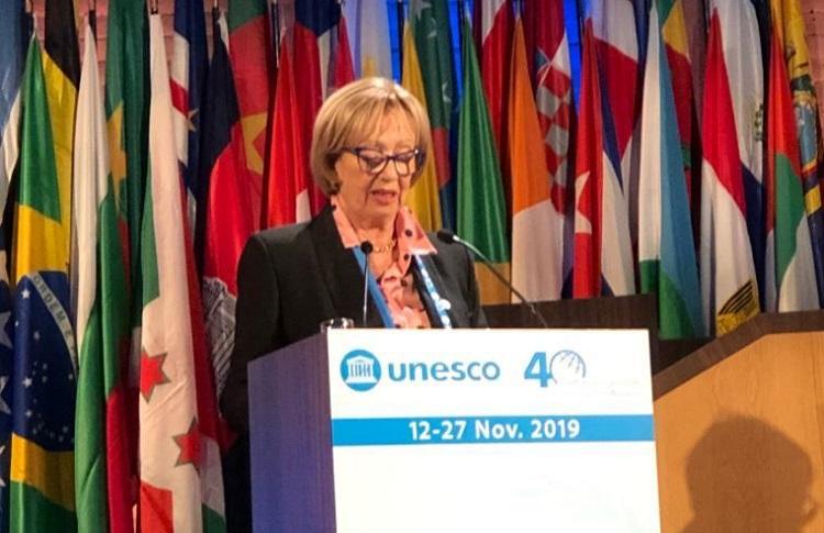 ministra Muñoz en conferencia de la Unesco